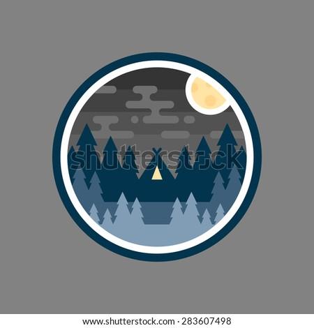 Round woods badge night camp illustration emblem logo design - stock vector