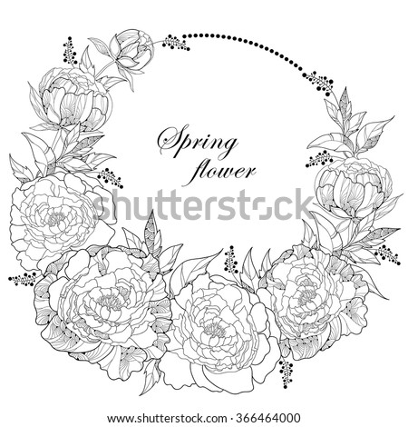 Round wreath with seven peony flowers and leaves with an empty place for text isolated on white background. Floral elements in contour style. - stock vector