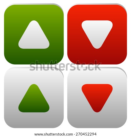 Rounded arrows, arrowheads up and down. Minimal Buttons or icons. Editable vector. Green, red and gray in colors. - stock vector
