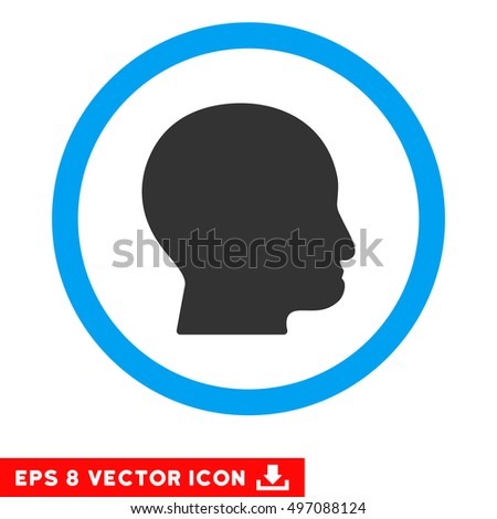 Rounded Bald Head EPS vector pictogram. Illustration style is flat icon symbol inside a blue circle.