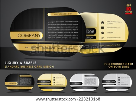 Rounded business card design in black and gold color - stock vector