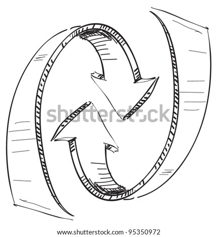 Rounded concentric arrows. Hand drawing sketch vector icon - stock vector