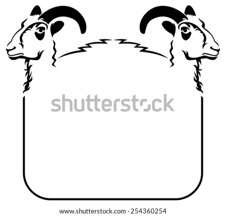 Rounded corners frame with goats  - stock vector