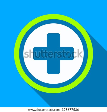 Rounded Cross Long Shadow Vector Icon Stock Vector 378677536