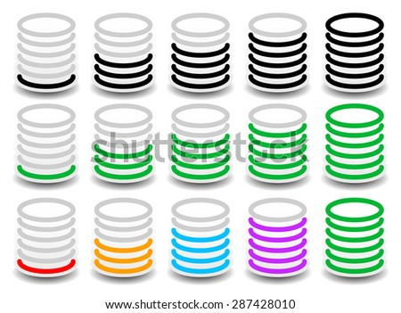 Rounded cylinder progress, steps, phase indicators. vector. Fullness, completion concept. - stock vector