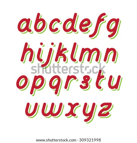 Rounded Fat Line Red Font with Green shadow - stock vector