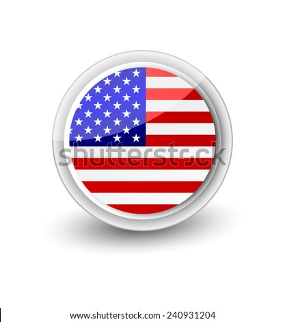 Rounded flag icon of the USA isolated on white. - stock vector