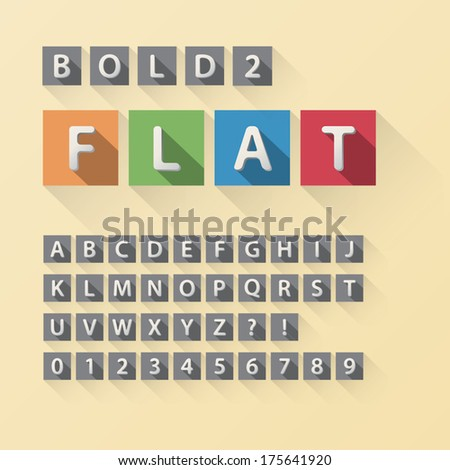 Rounded Flat Font and Numbers in Square, Eps 10 Vector, Editable for any Background, No Clipping Mask - stock vector