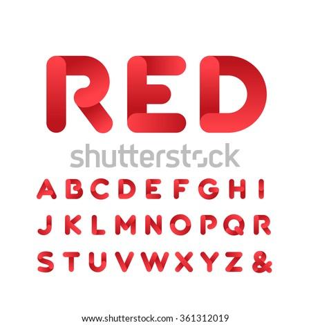 Rounded Font Vector Alphabet Gradient Effect Stock Vector