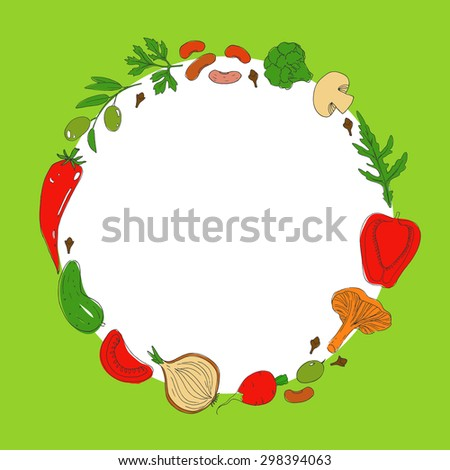 Rounded food frame. Set of healthy vegetarian food. Vegetables and herbs. Hand drawn vector background. Tomato, pepper, mushrooms, olives, onion, bean, cucumber, broccoli, herbs.