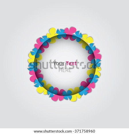 rounded free place for text with colour flowers / abstract flower frame for text