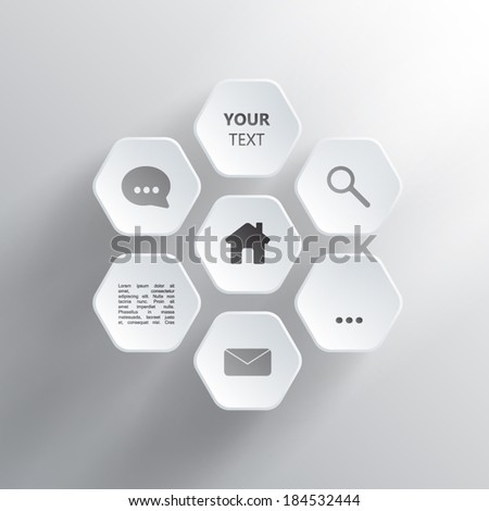 Rounded Hexagons Design - stock vector