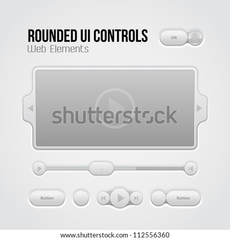 Rounded Light UI Controls Web Elements 2: Buttons, Switchers, On, Off, Player, Audio, Video: Play, Stop, Next, Pause, Volume, Slider, Progress Bar, Bulb - stock vector