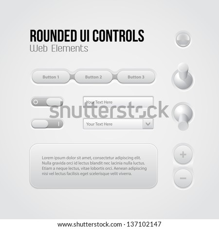 Rounded Light UI Controls Web Elements: Menu, Navigation Bar, Buttons, Switchers, On, Off, Volume, Slider, Message Box, Drop-down, Tooltip, Bulb