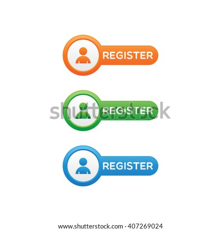 Rounded Register Buttons - stock vector