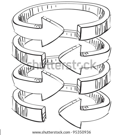 Rounded spiral arrows .Hand drawing sketch vector icon