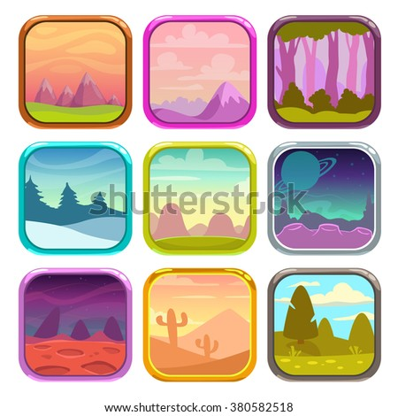 Rounded square app icons with funny simple nature landscapes, vector game assets, isolated on white - stock vector