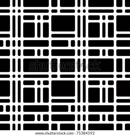Rounded squares black and white seamless pattern. Geometric vector wallpaper or website background. - stock vector
