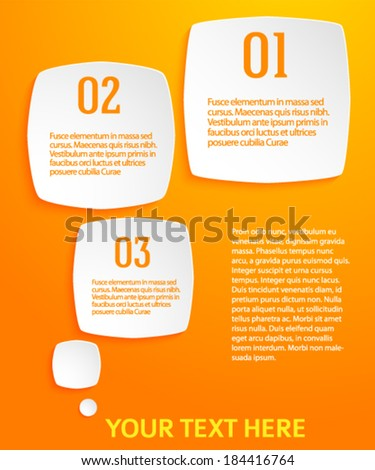 Rounded squares with drop shadows on orange background. Vector illustration EPS 10 for infographic website or flyer / presentation template / brochure page layout / cover book or magazine - stock vector