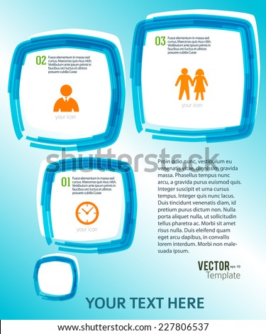Rounded squares with paint stripes and space place for your text on watercolor blue background. Vector illustration EPS 10 for info-graphic web banner / presentation template / new product newsletters