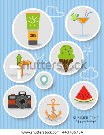 Rounded Summer items labels on blue sky background vector design - stock vector