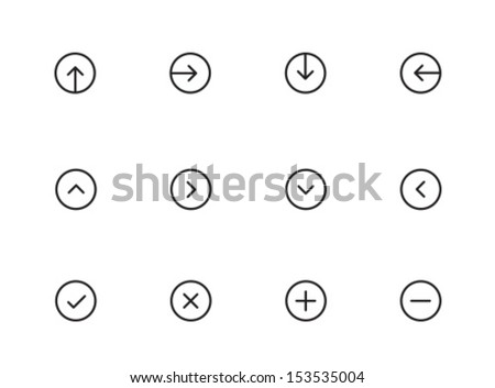 Rounded Thin Icon Set 01 - Arrows, Pointers, Ticks, Crosses, Plus & Minus - stock vector