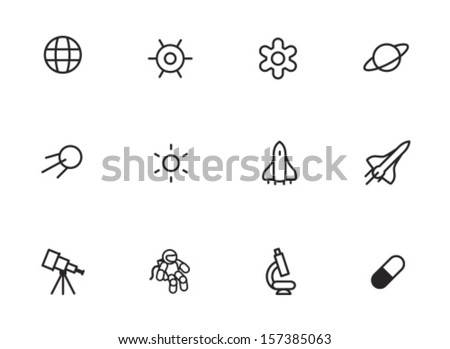 Rounded Thin Icon Set 01 - Earth, Gravity, Field, Planet, Satellite, Sun, Space ship, Telescope, Astronaut, Microscope, Pill