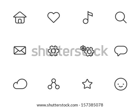 Rounded Thin Icon Set 01 - Home, Like, Music, Search, Mail, Settings, Message, Cloud, Network, Star, Smile - stock vector