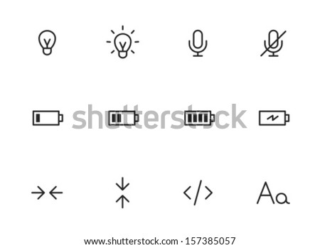 Rounded Thin Icon Set 01 - Lightbulb, Microphone, Battery, Size, Code, Font
