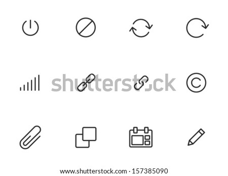 Rounded Thin Icon Set 01 - Power, Delete, Repeat, Refresh, Volume, Link, Copyright, Clip, Stack, Calendar, Edit - stock vector