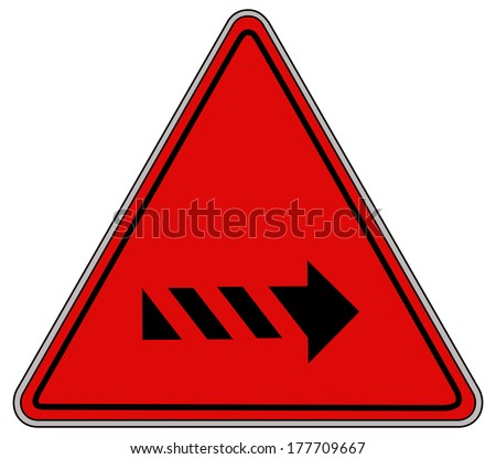 Rounded triangle shape hazard warning sign with arrow symbol. Vector illustration