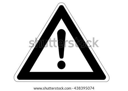 Rounded triangle shape hazard warning sign with exclamation mark symbol - stock vector