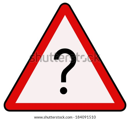 Rounded triangle shape hazard warning sign with question mark symbol . Vector illustration - stock vector