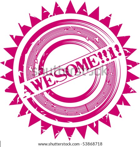 Rounded vector stamp with word Awesome - stock vector
