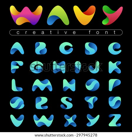 Rounded Wave Font design vector editable. Friendly wavy Alphabet.