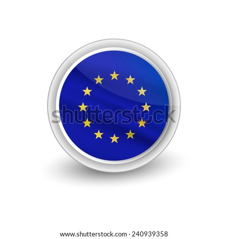 Rounded waving flag of EU - stock vector