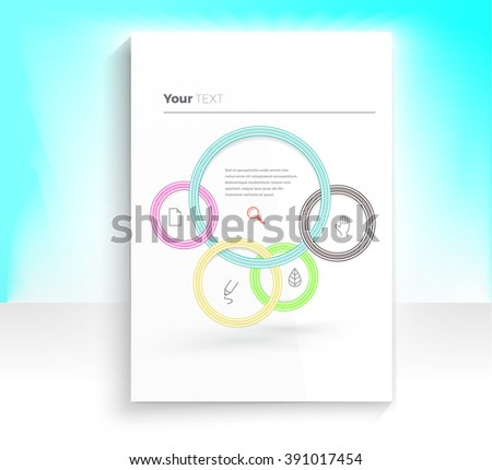 Rounds Connections Composition for Your CMYK Print Illustration on an A4 Paper Mock Up - stock vector