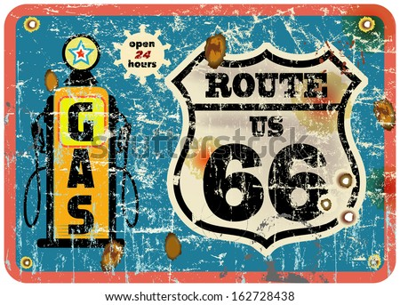 route 66 gas station sign,retro style, vector eps 10 - stock vector