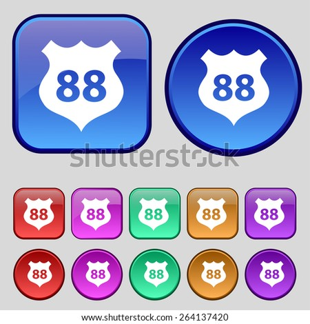Route 88 highway icon sign. A set of twelve vintage buttons for your design. Vector illustration - stock vector