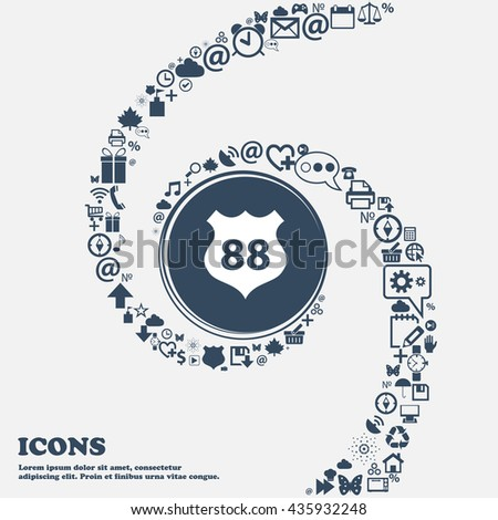 Route 88 highway icon sign in the center. Around the many beautiful symbols twisted in a spiral. You can use each separately for your design. Vector illustration - stock vector