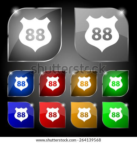 Route 88 highway icon sign. Set of ten colorful buttons with glare. Vector illustration - stock vector