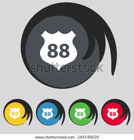 Route 88 highway icon sign. Symbol on five colored buttons. Vector illustration - stock vector