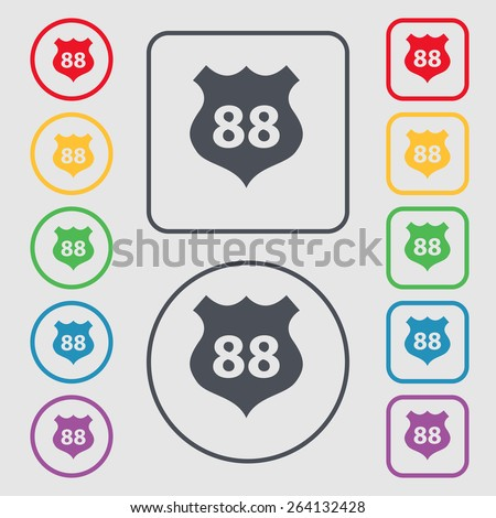 Route 88 highway icon sign. symbol on the Round and square buttons with frame. Vector illustration - stock vector