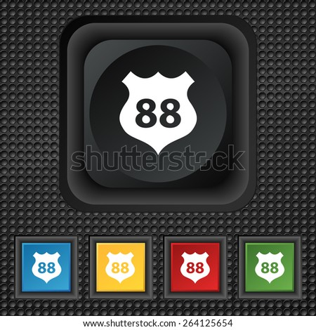 Route 88 highway icon sign. symbol Squared colourful buttons on black texture. Vector illustration - stock vector