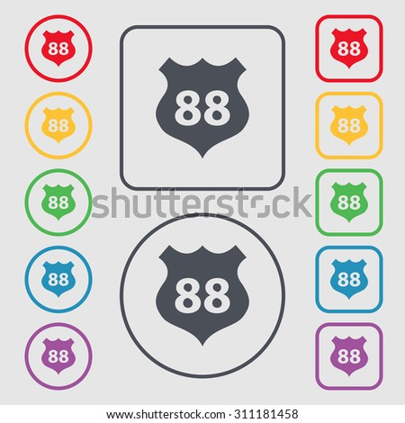 Route 88 highway icon sign. Symbols on the Round and square buttons with frame. Vector illustration - stock vector