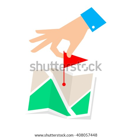 Route pointer concept. Flat vector illustration of map and hand with flag marker. Man is routing a rout and pointing a place on the plan. Infographic element for web, publishing, social networks. - stock vector