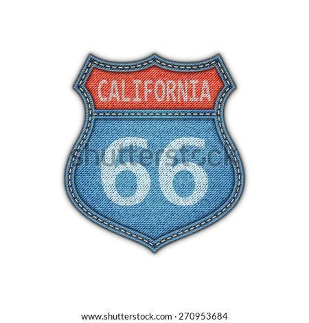 Route 66 Road Denim Sign.Vector Illustration - stock vector
