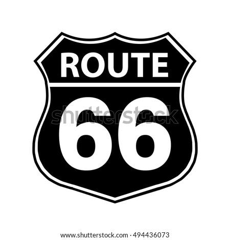 Route 66 Sign Black Stock Vector 494436073 Shutterstock