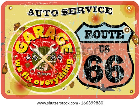 route sixty six garage sign,retro style - stock vector