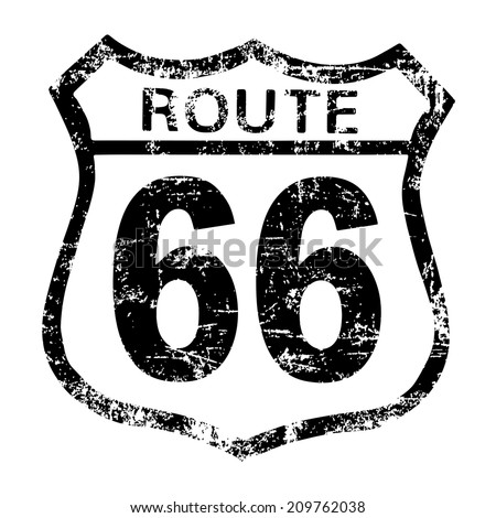 route sixty six sign - stock vector